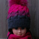 Зимний комплект шапка снуд 6 - 8 лет