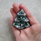 Брошь брошка из бисера елка елочка ялинка новый год новогодний