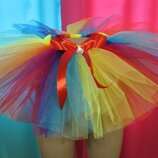 Комбинируем любые цвета фатина и лент. Фатиновая юбка пачка Ту-Ту с атласной лентой