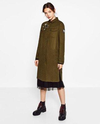 Котоновая рубашка платье zara