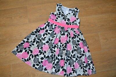 Платье нарядное, цветы, розы 3-5 лет, 98-104 см