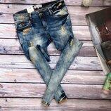 Модные джинсы скинни с блеском, немецкий бренд S-M