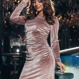 Вечернее бархатное платье мини.
