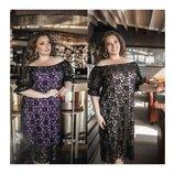 Сукня Сітка з флоковим малюнком 48-64 Арт.05100