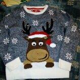 Новогодний свитер с оленем 134/140 8 9 10 лет