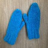 Велюровые варежки рукавицы ручной работы лазурного цвета