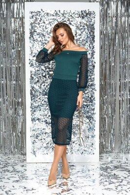 Комбинированное женское платье AZ-211 зеленый