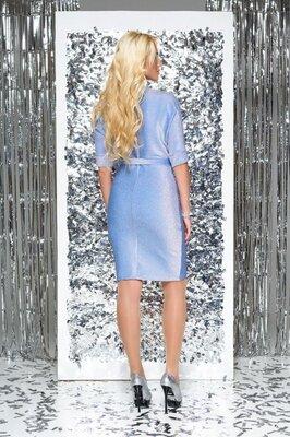 Трендовое блестящее платье L-285 голубой