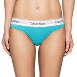 8 с 36 Calvin Klein спортивные хлопковые трусики стринги на широкой резинке цвет бирюзы