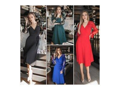 Сукня Сітка з флоковим малюнком 48-64 мод.05085