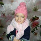 шапка зимняя на девочку 6-9 лет ручной работы
