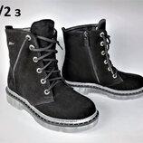 Молодежные зимние замшевые ботинки на на низком ходу. Днепр.