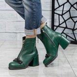 Ботинки зима, натуральная кожа, с декором, зеленые