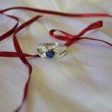 Кольцо с камнем сердце из серебра