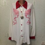 Шикарная нарядная яркая кофточка рубаха р.54-56-58-62 пог 63