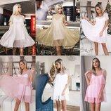 Коктельные Вечерние Нарядные Двойные платья платье на корпоратив на праздник 3 видов в 6 расцветках