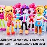 Набор кукол 7шт Литл Пони, 13 см - руки, ноги и голова на шарнирах. У каждой фигурки есть подставка