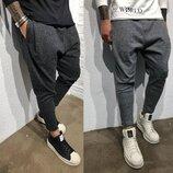 Стильные мужские штаны-галифе серые