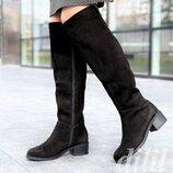 Сапоги ботфорты женские зимние замшевые черные на каблуке