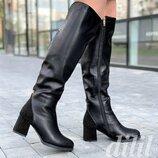 Сапоги ботфорты женские зимние кожаные черные на каблуке
