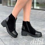 Ботинки женские зимние кожаные замшевые черные, полуботинки