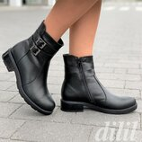 Ботинки женские зимние кожаные черные, полуботинки