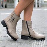 Ботинки женские зимние кожаные на толстой подошве бежевые, полуботинки