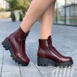 Ботинки женские зимние кожаные на толстой подошве бордовые, полуботинки