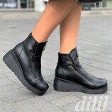 Ботинки женские зимние кожаные на танкетке на платформе черные, полуботинки