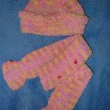 Комплект - шапочка, шарфик розовый