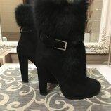 Sale полностью натуральные зимние ботинки на цигейке замша плюс мех кролика