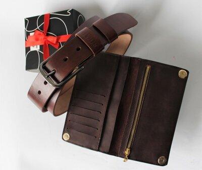 Мужской подарочный набор темно-коричневый - ремень кожа, кошелек кожа