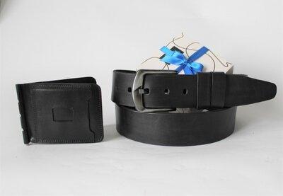 Мужской подарочный набор ремень зажим черный