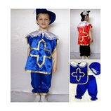 Новогодний костюм Мушкетер 2 цвета, 2 размера на 3-7 лет, накидка без рукавов.