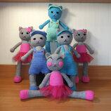 Вязаные мягкие игрушки , куклы ручная работа котики 36см