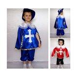 Новогодний костюм Мушкетер 2 цвета, 2 размера на 3-7 лет, накидка с рукавами.