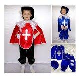 Новогодний костюм Мушкетер 2 цвета, 2 размера на 3-7 лет с воротником и манжетами.