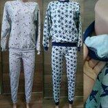 Пижама теплая с начесом на баечке с манжетами меланж, начес, 128-134-140-146-152-158