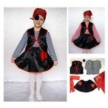 Новогодний костюм Пират Пиратка 2 цвета, 2 размера на 3-10 лет для девочки.