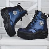 Ботинки женские зимние кожаные на платформе Nice shoes синие