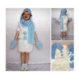 Новогодний костюм Снеговик мех 2 размера на 3-7 лет.