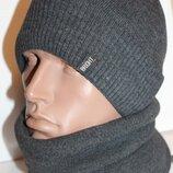Комплект супер теплый шапка и баф на флисе 56-59р