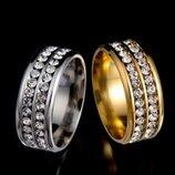 Шикарное широкое кольцо с камнями реплика BVlgari