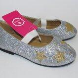 26-30р серебро детские новогодние туфли туфельки балетки девочке на праздник, утренник, Paliament