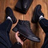Зимние ботинки Харос син код. 4569