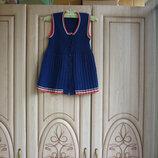 продам яркий тёпленький трикотажный сарафан с плиссированной юбкой