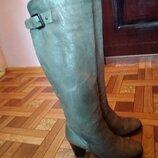 Шкіряні чоботи . ботфорди.євро зима.