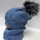 Комплект зимний. шапка и хомут на флисе 48-54