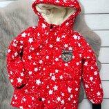 р.110-134 Зимняя удлиненная куртка, синтепон 300, махра, до -25
