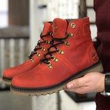 Timberland мужские зимние ботинки темно красные 8769